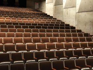 Foto på en konferenssal med stolar i biosittning. Alla stolar är tomma, med bruna säten.