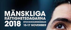 Bild med texten Mänskliga rättighetsdagarna 2018 stockholmsmässan 15-17 november